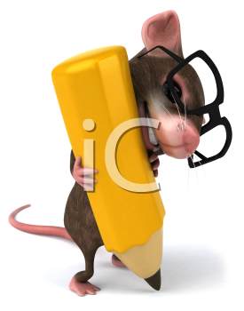 Royalty Free Clipart Image of a Mouse Wearing Spectacles and Holding a Pencil