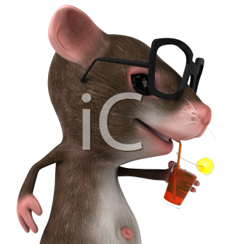 Royalty Free 3d Clipart Image of a Mouse Wearing Black Rimmed Glasses Sipping a Drink