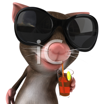 Royalty Free 3d Clipart Image of a Mouse Wearing Sunglasses and Drinking a Red Beverage