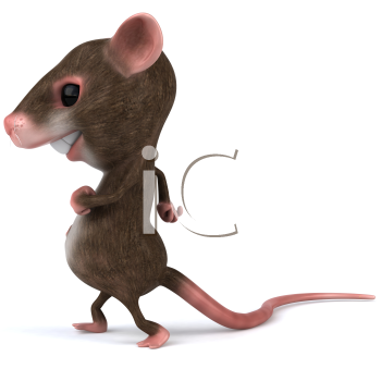 Royalty Free 3d Clipart Image of a Mouse Walking
