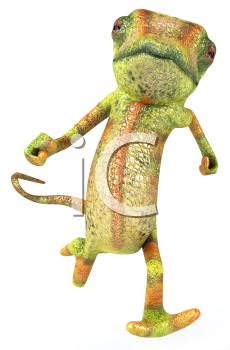 Royalty Free 3d Clipart Image of a Chameleon Running