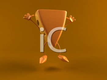 Royalty Free 3d Clipart Image of a Block of Cheese