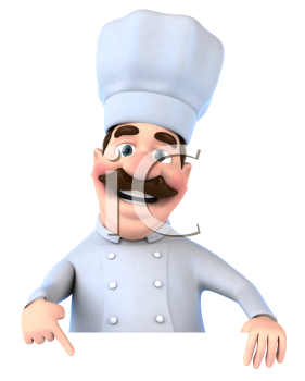 Royalty Free 3d Clipart Image of a Chef Pointing to a Sign Board