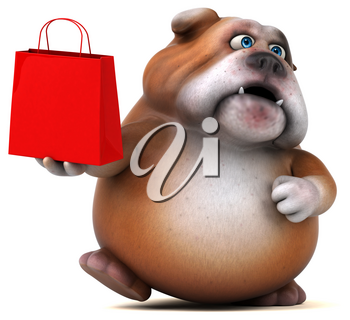Fun bulldog - 3D Illustration