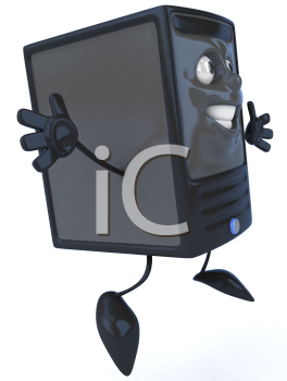 Royalty Free 3d Clipart Image of a Computer Jumping