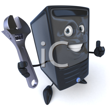 Royalty Free 3d Clipart Image of a Computer Holding a Wrench