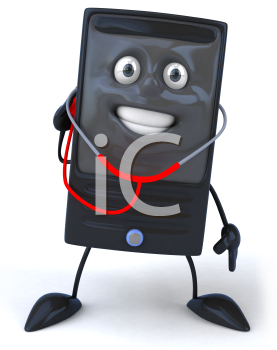 Royalty Free 3d Clipart Image of a Computer Checking Itself with a Stethoscope