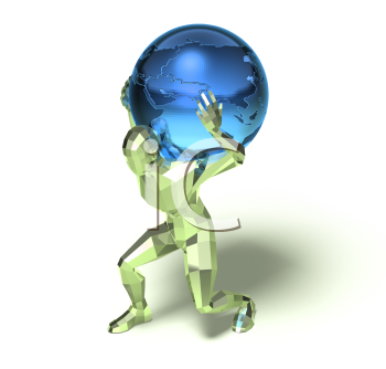 Royalty Free 3d Clipart Image of a Man Carrying a Blue Globe on His Back