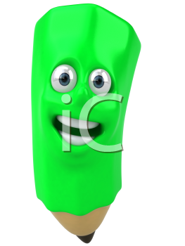 Royalty Free 3d Clipart Image of a Green Pencil