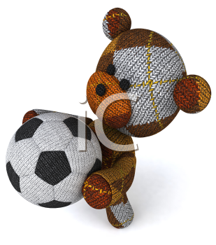 Royalty Free 3d Clipart Image of a Teddy Bear Holding a Soccer Ball