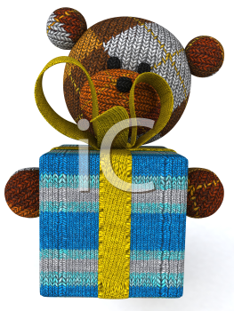 Royalty Free 3d Clipart Image of a Teddy Bear Holding a Gift