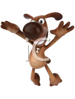 Royalty Free 3d Clipart Image of a Dog Jumping in the Air