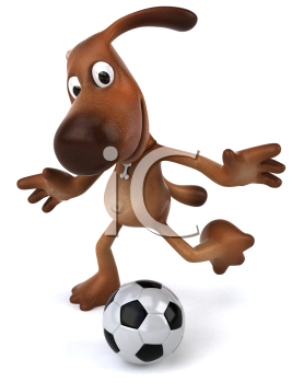 Royalty Free 3d Clipart Image of a Dog Kicking a Soccer Ball
