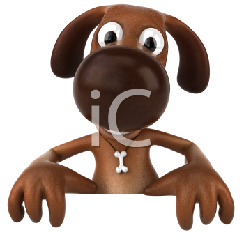 Royalty Free 3d Clipart Image of a Dog Holding a Sign Board