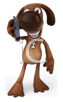 Royalty Free Clipart Image of a Dog With a Cellphone