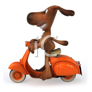 Royalty Free Clipart Image of a Dog Riding a Moped