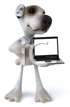 Royalty Free 3d Clipart Image of a Jack Russell Terrier Dog Holding a Laptop Computer