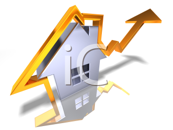 Royalty Free 3d Clipart Image of a House with an Arrow Pointing Upwards