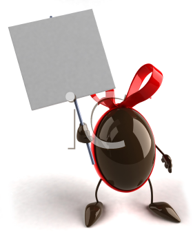 Royalty Free 3d Clipart Image of a Chocolate Easter Egg Holding a Sign
