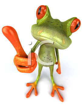 Royalty Free 3d Clipart Image of a Frog Giving a Thumbs Up Sign