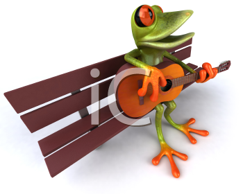 Royalty Free 3d Clipart Image of a Frog Sitting on a Bench Playing a Guitar