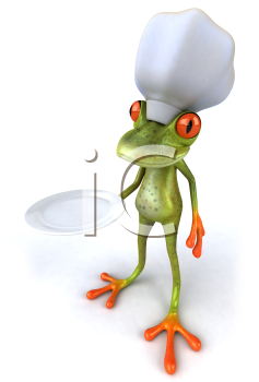 Royalty Free 3d Clipart Image of a Frog Wearing a Chef's Hat and Holding a Plate