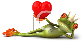 Royalty Free 3d Clipart Image of a Frog Laying on its Side, Wearing a Crown and Holding a Heart