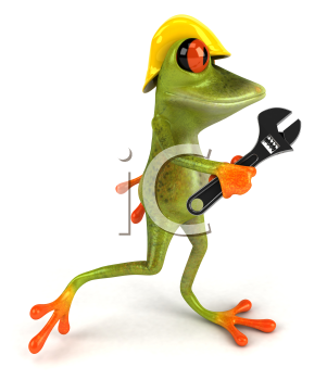 Royalty Free Clipart Image of a Frog Wearing a Hardhat Carrying a Wrench