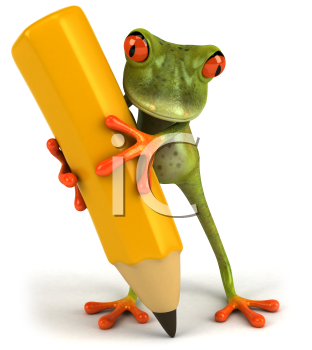 Royalty Free Clipart Image of a Frog Writing With a Pencil