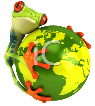 Royalty Free Clipart Image of a Frog With a Globe