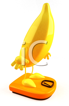 Royalty Free 3d Clipart Image of a Banana Standing on a Scale