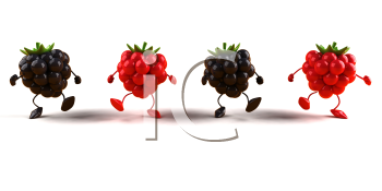 Royalty Free 3d Clipart Image of Raspberries and Blackberries