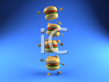 Royalty Free 3d Clipart Image of a Stack of Hamburgers