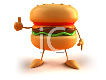 Royalty Free 3d Clipart Image of a Hamburger Giving a Thumbs Up Sign