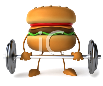 Royalty Free Clipart Image of a Burger Man Lifting a Barbell