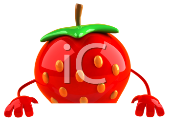 Royalty Free 3d Clipart Image of a Strawberry Holding a Sign Board
