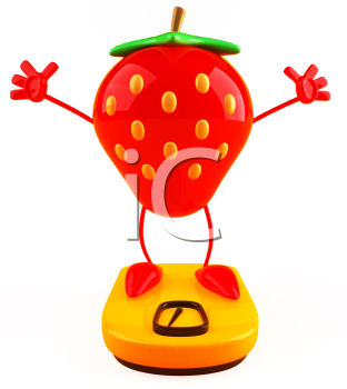 Royalty Free 3d Clipart Image of a Strawberry Standing on a Scale