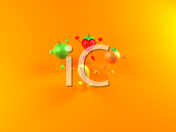 Royalty Free 3d Clipart Image of a Assorted Fruit