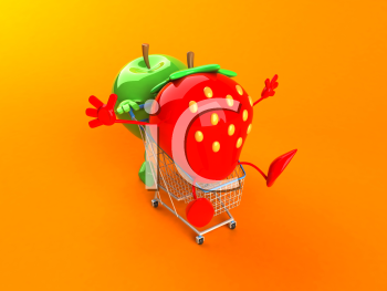 Royalty Free 3d Clipart Image of an Apple Pushing a Strawberry in a Shopping Cart