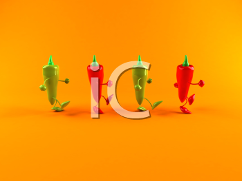 Royalty Free 3d Clipart Image of Red and Green Peppers