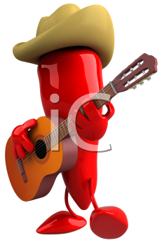 Royalty Free Clipart Image of a Red Pepper Playing a Guitar