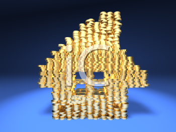 Royalty Free 3d Clipart Image of Gold Coins Stacked in the Shape of a House