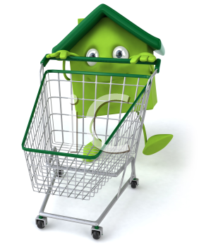 Royalty Free 3d Clipart Image of a House Pushing a Shopping Cart