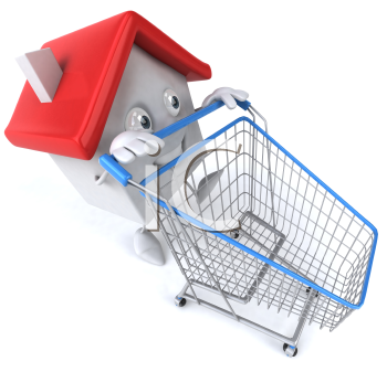 Royalty Free Clipart Image of a House Guy With a Grocery Cart