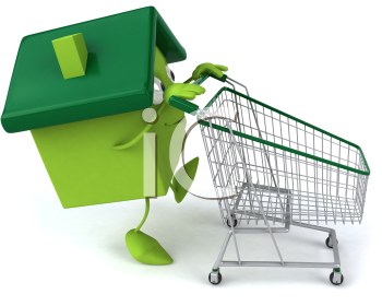 Royalty Free Clipart Image of a Green House Guy With a Grocery Cart
