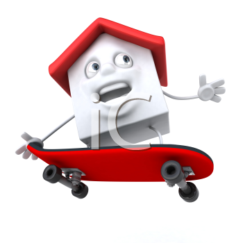 Royalty Free 3d Clipart Image of a House Riding a Skateboard