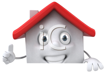 Royalty Free 3d Clipart Image of a House Giving a Thumbs Up Sign