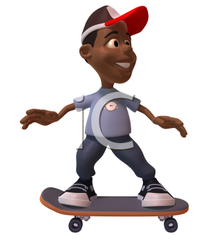 Royalty Free 3d Clipart Image of an African American Youth Riding a Skateboard