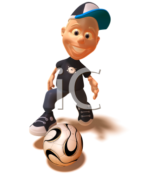 Royalty Free 3d Clipart Image of a White Youth Kicking a Soccer Ball