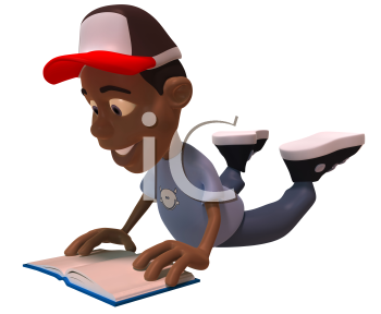 Royalty Free 3d Clipart Image of an African American Youth Reading a Book